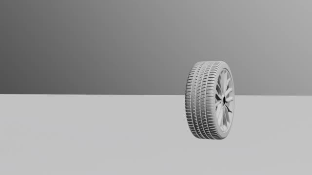 3D car wheel rotates on white background