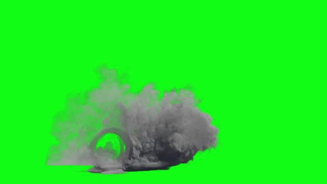 Car wheel speed smoke, Green Screen Chromakey