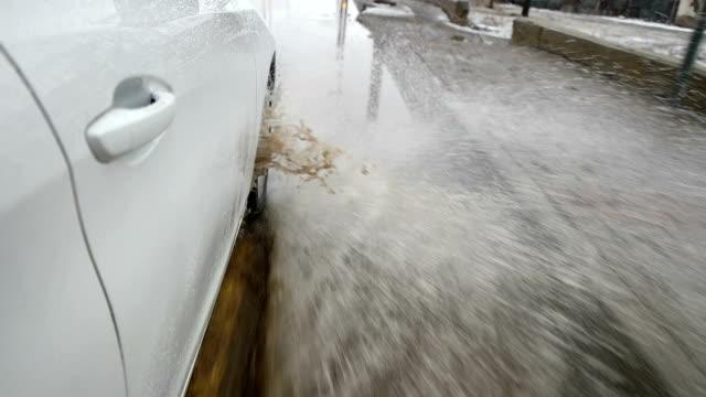 SLOW MOT - Car wheel splash water at high speed in flood road video