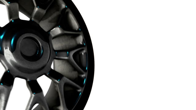 Car wheel with steel rims reflections on white background
