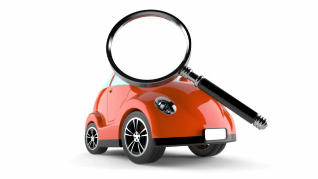 Car with magnifying glass Car with magnifying glass isolated on white background magnifying glass stock videos & royalty-free footage