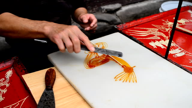 Caramelized sugar painting video