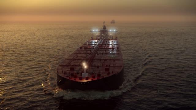 caravan of oil tankers - nave cisterna video stock e b–roll