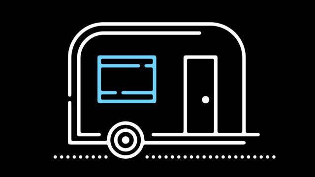 stockvideo's en b-roll-footage met caravan park lijn pictogram animatie met alpha - caravan