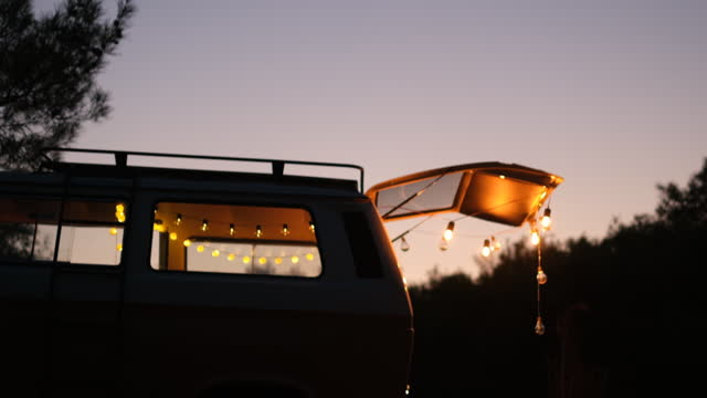 caravan view and lightings after sunset