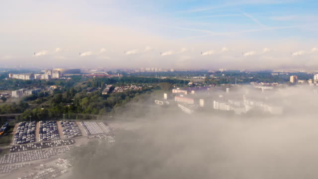 Carbon Dioxide pollution. Aerial view of cityscape