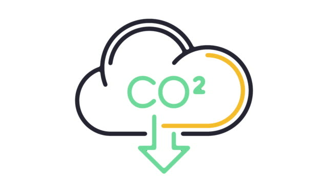 carbon footprint line icon animation - anidride carbonica video stock e b–roll
