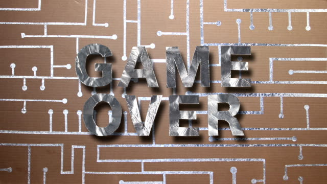 card and foil circuit game over - aluminum foil stock videos & royalty-free footage