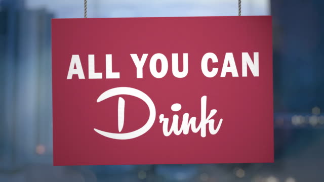 Cardboard all you can drink sign hanging from ropes. Luma matte included so you can put your own background.