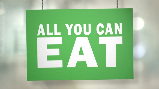 Cardboard all you can eat sign hanging from ropes. Luma matte included so you can put your own background.