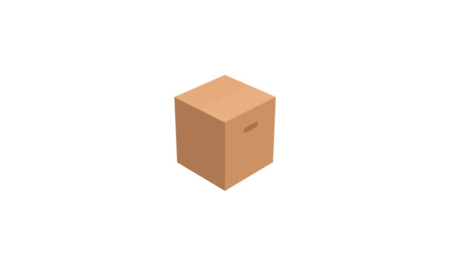 アルファマットと白の背景に段ボール箱のアニメーション ビデオ