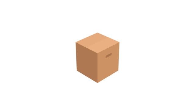 vídeos de stock e filmes b-roll de cardboard box animation on white background with alpha matte - cardboard box