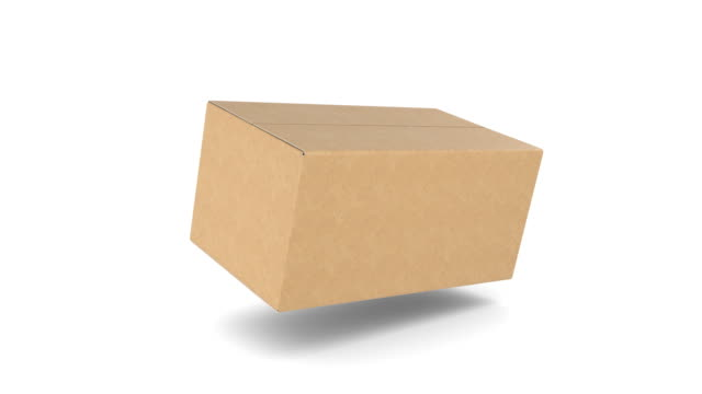 Cardboard Box Falling Down, Opening and Closing on White Backgrounds with Alpha Mask. 3d Animation of Storage Box. Delivery Concept.