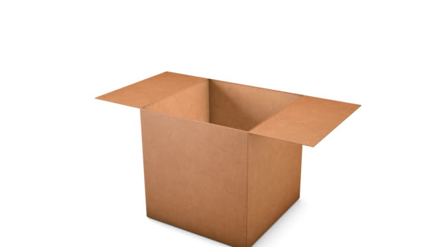 vídeos de stock e filmes b-roll de 3d cardboard box opening to green screen - cardboard box