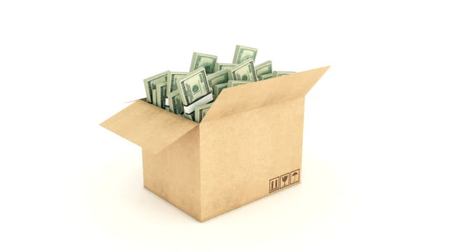cardboard box with dollars. 3d rendering video