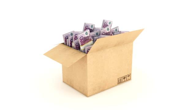 stockvideo's en b-roll-footage met kartonnen doos met euro. 3d-rendering - e mail
