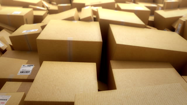 Cardboard boxes background. HD loop video