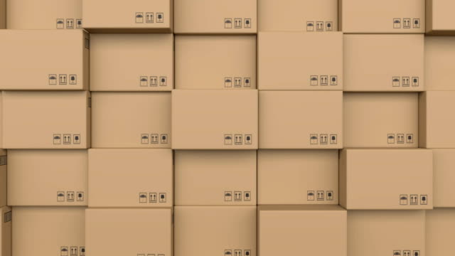 Cardboard boxes moving on conveyor belts against white background