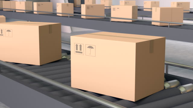 Cardboard Boxes on Conveyor (Loopable) video