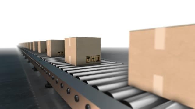 Cardboard boxes progresses along conveyor belt loopable animation Cardboard boxes progresses along conveyor belt loopable animation conveyor belt stock videos & royalty-free footage