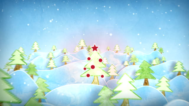 cardboard christmas forest intro last 10s are loopable video