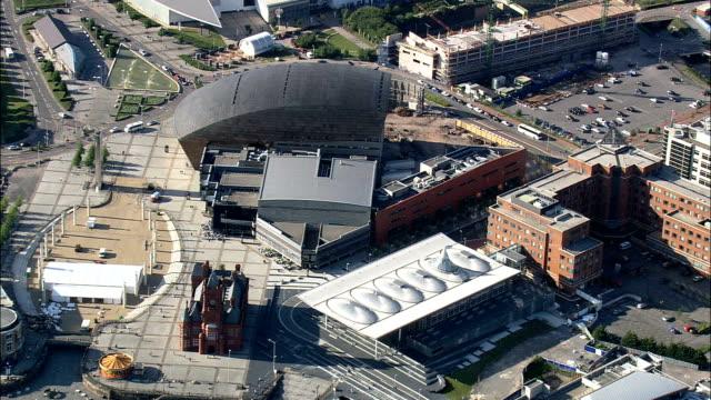 Cardiff Bay  - Aerial View - Wales,  Cardiff,  Butetown helicopter filming,  aerial video,  cineflex,  establishing shot,  United Kingdom video