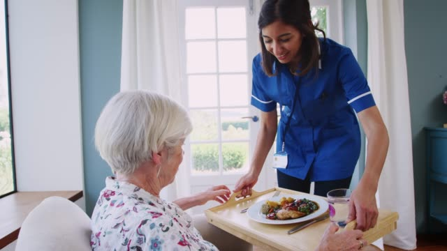 care nurse serving dinner to a senior woman at home - senior care stock videos and b-roll footage