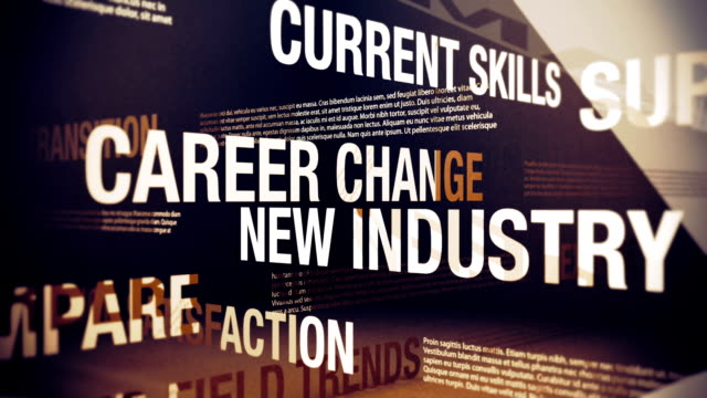 Career Change Issues and Related Words Seamlessly looping animation showing a variety of career change issues, related words and concepts. adult education stock videos & royalty-free footage