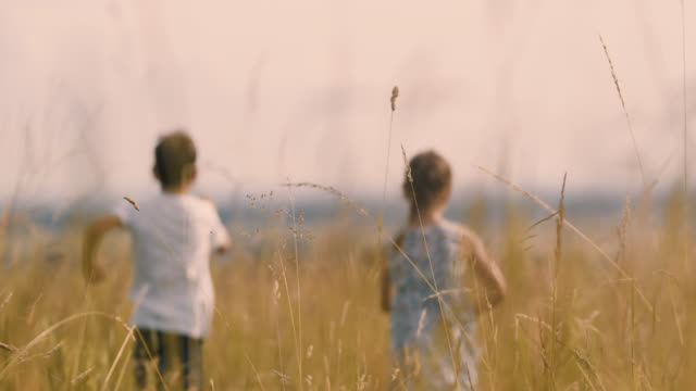 MS Carefree boy and girl running in sunny idyllic rural field