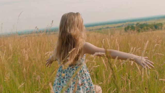 日当たりの良いのどかな農村フィールドを駆ける ms のんき少女 - 日常から抜け出す点の映像素材/bロール