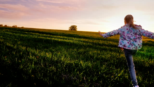 A carefree girl runs across the green field towards the sunset. Concept - a happy childhood, lightness and freedom. Steadicam shot video