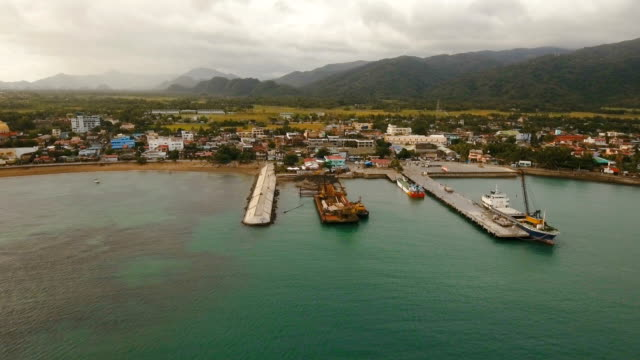 Cargo and passenger transit port aerial view .Catanduanes island, Philippines video