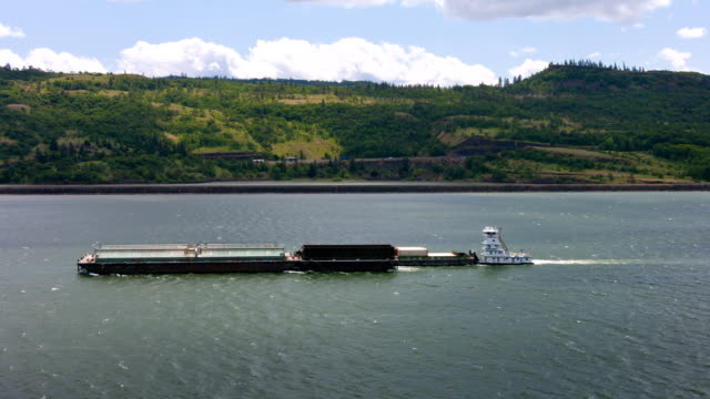 Cargo Barge on river video