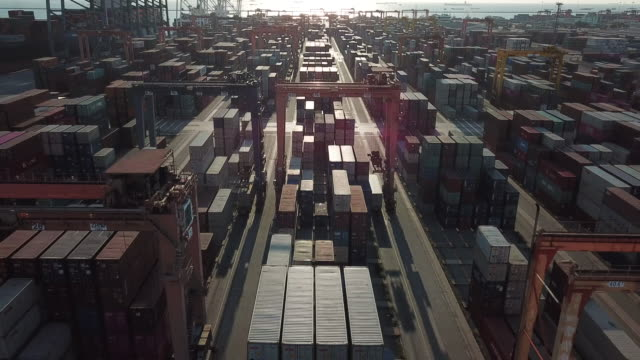 Cargo Container in Port at Sunset Cargo Container in Port at Sunset commercial dock stock videos & royalty-free footage