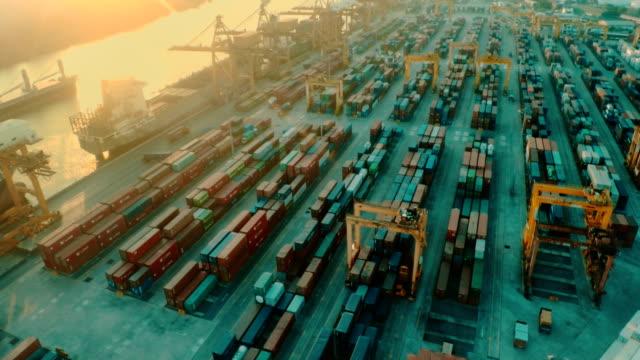 Cargo Container Port Aerial video
