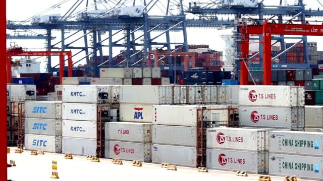 vídeos de stock, filmes e b-roll de carga contêiner remessa - vinho do porto