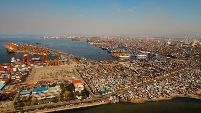 Cargo industrial port aerial view. Manila, Philippines video