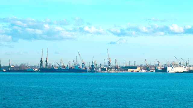 Cargo port. St Petersburg. Russia. timelapse video