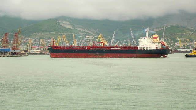 cargo ship in port video