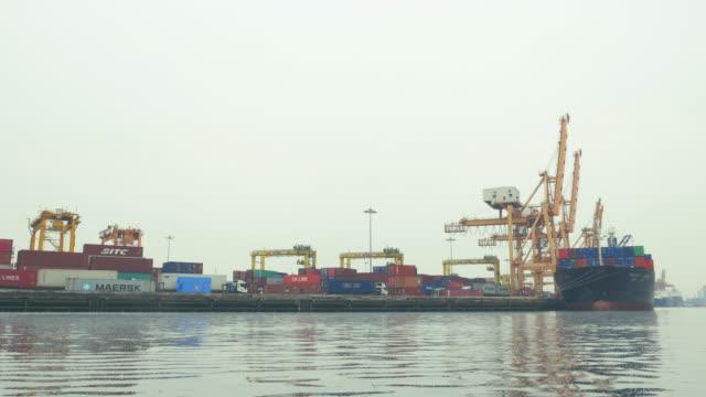 Cargo ship loading port,Steadicam shot video