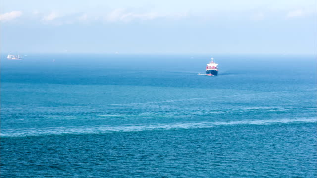 cargo ship sailing on the sea video
