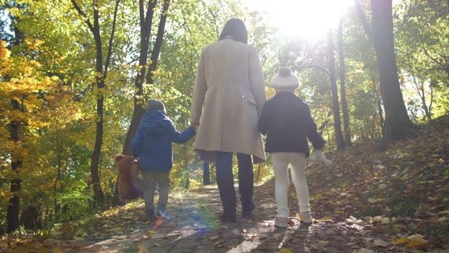 屋外散歩を楽しむ思いやりのあるママと子供たち - disabilitycollection点の映像素材/bロール