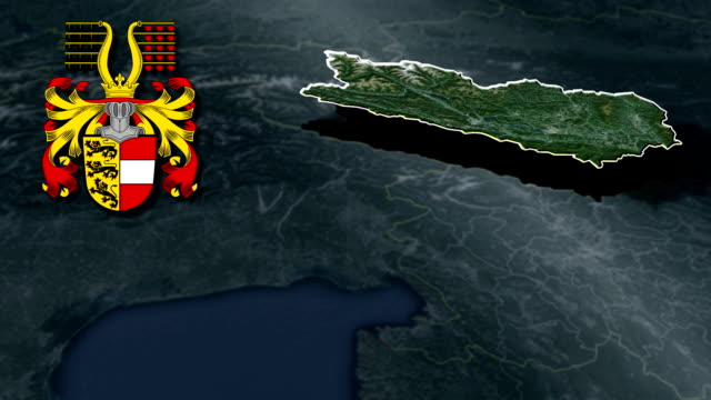 Carinthia white Coat of arms animation map video
