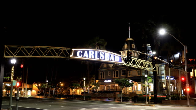 Carlsbad California Sign at Night - Timelapse