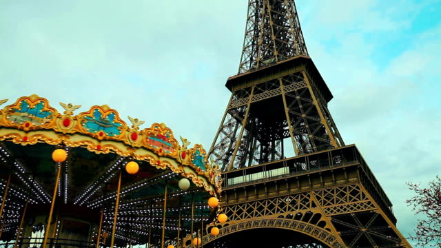 Carousel and Tour Eiffel in Paris video