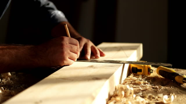 carpenter at work - levigatrice video stock e b–roll