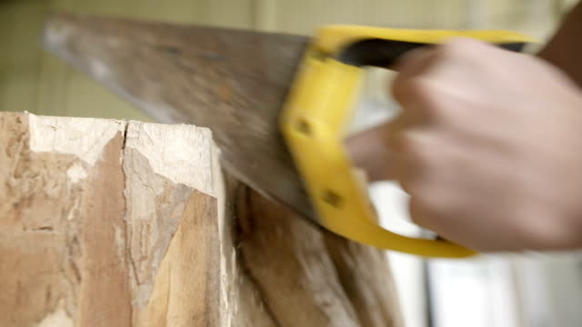 Carpenter Cutting Wood With Handsaw In Workshop video