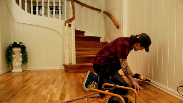 Carpenter working in villa video