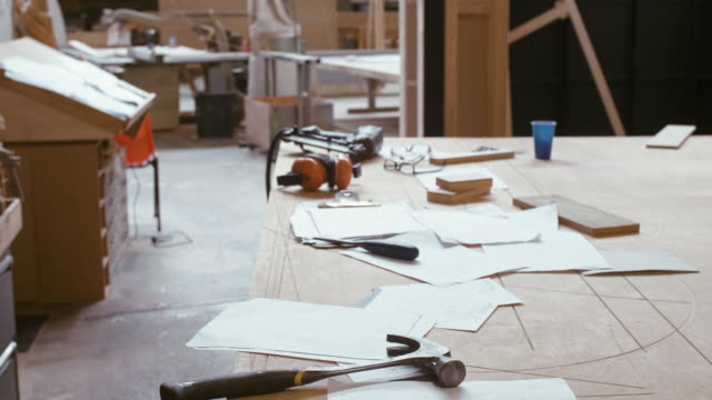 Carpentry work desk (slow motion) Carpentry workshop in Sydney, Australia. workbench stock videos & royalty-free footage