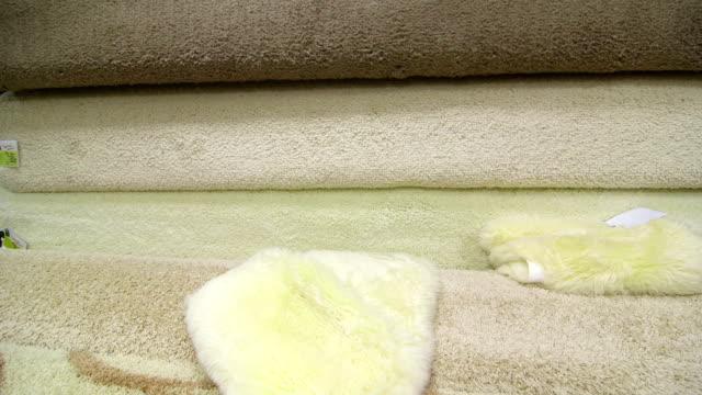Carpet flooring assortment in  building materials shop video